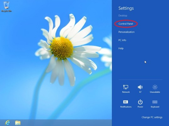 Windows 8 Controle Paneel